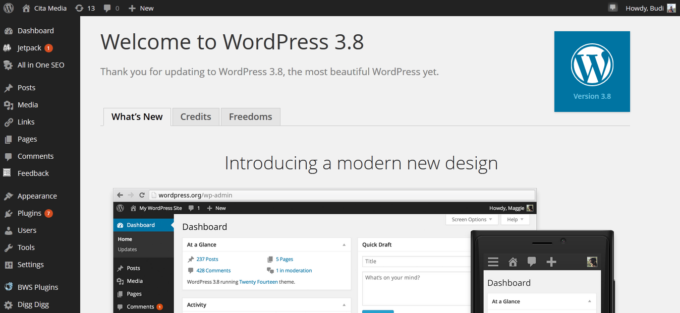 WordPress 3.8 – Optimalisasi di Gadget