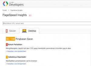 Hasil PageSpeed Insight setelah ditambahkan mod deflate